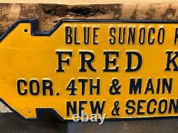 Early ORIGINAL Vintage BLUE SUNOCO KNOCKLESS GAS Old Tin tacker SIGN Enid, OK