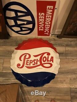 Embossed Tin Pepsi Cola Bottle Cap Button Sign Stout Vintage Repop Soda Pop Coke