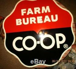 Farm Bureau Co-op 4 Foot Original Tin Vintage Grain/gas Facility Ad Sign Rare