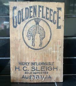 GOLDEN FLEECE Hanging Ram Vintage Tin Drum Crate Wooden Box End Only Sign