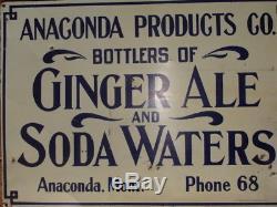 Ginger Ale Soda Tin Sign Antique Vintage Original Anaconda Montana Bottlers Rare