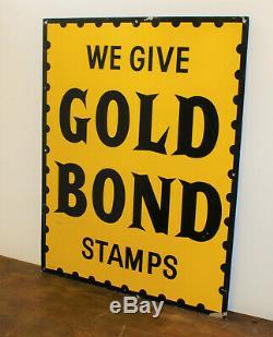 Gold Bond Stamps tin sign advertising mancave garage metal vintage retro enamel