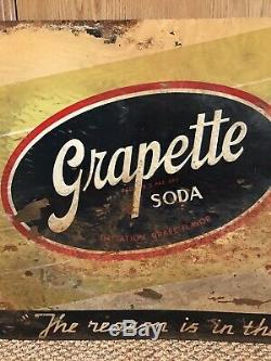 Grapette Soda Sign Tin Rare Original Embossed Gas Oil Old Vintage Antique