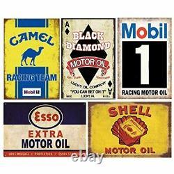 HUGE LOT 24 Gas Oil Tin Signs Retro Vintage Metal Man Cave Garage She Shed Decor
