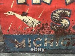 Hardys Michigan Salt Sign Vintage Metal Sign Tin Tacker Old Advertising 13x27