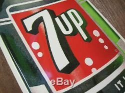 Large NOS Vintage Stout 1962 7Up 7 Up Soda Pop Bottle 44 Tin Metal Sign