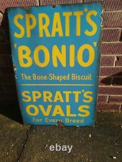 Large Vintage Spratts Bonio Tin Enamel Original Sign Blue/Yellow