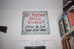 Large Vintage Tin Road Sign Mt Pisgah Scenic View from Colorado Double sided