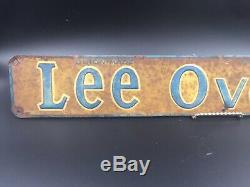 Lee Overalls Tin Litho Metal Embosed Sign Advertising Vintage Used