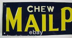 MAILPOUCH CHEW SMOKE Tobacco Sign Vintage Embossed Tin Metal Advertising