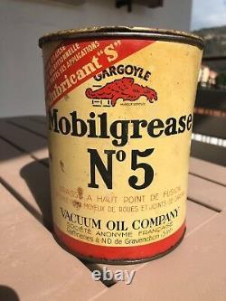 MOBILOIL GARGOYLE MOBILGREASE VINTAGE 1940s TIN CAN ANTIQUE GARAGE SIGN OIL