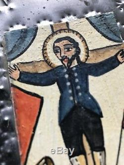 Marie Romero Cash San Acacio Santo Painting Tin Retablo Folk Art Signed Vtg