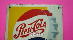 Mexican Vintage PEPSI COLA Metal Thermometer Tin Sing C. 1950´s RARE