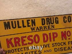 Mullen Drug Co. Vintage Tin Advertising Sign For Kresco Dip No. 1 Veterinary