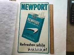 NEWPORT Cigarettes Vintage Tin Advertising Sign