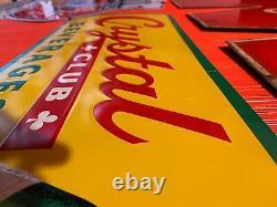NOS Soda Sign Crystal Club Beveridges Tin Vintage Ginger Ale Advertising Store