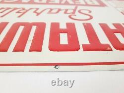 NOS VINTAGE 1930s CATAWISSA BEVERAGES EMBOSSED TIN SIGN ESTATE FIND RED WHITE