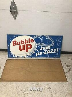 NOS VTG 50s BUBBLE UP Soda Pop Embossed Tin Advertising Metal Sign 28x12