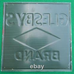 NOS Vintage Glesby's Diamond Brand Feeds Embossed Metal Tin Sign