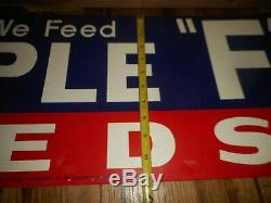 NOS Vintage Triple F Feeds Farm Cattle Livestock Tin Advertising Sign in CRATE
