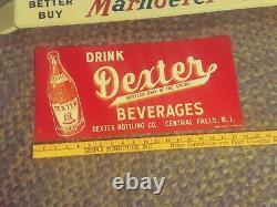NOS Vtg Original Drink Dexter Beverages Soda Cola Embossed Tin SIGN 1950S-60S NM
