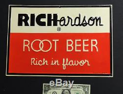 NOS authentic 1950s vtg RICHARDSON Root Beer TIN SIGN Soda Fountain 10x14
