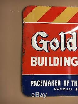 National Gypsum, Gold Bond Tin Advertising Sign Vintage 1950's