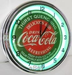 Neon Clocks Coca Cola Vintage Retro Wall Clock Green Ring Distressed Sign Soda