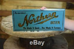 Northern Wisconsin Beer Tin Over Cardboard Sign Nice Vintage Bar Breweriana RARE