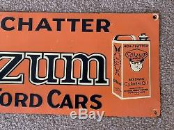 OILZUM Vintage Non Chatter For FORD CARS Cylinder OIL EMBOSSED TIn SIgn 6 x 16