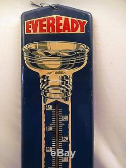 Old Very Rare Eveready Battery Thermometer Vintage Tin