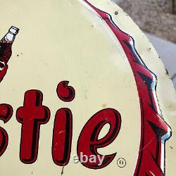 ORIGINAL Frostie Root Beer Bottle Cap Advertising Tin Sign Soda Vintage