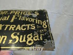 ORIGINAL VINTAGE 1880's DR. PRICE'S SPECIAL FLAVORING EXTRACTS TIN TACKER SIGN