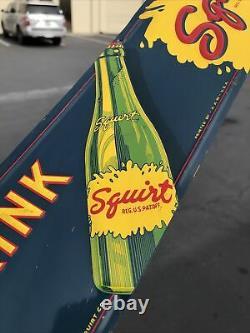 ORIGINAL Vintage Squirt Embossed Door Push Pull Sign Tin Tacker 1941 Bottle