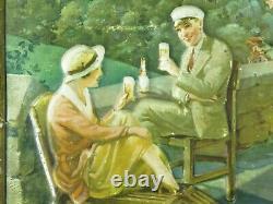 ORIGINAL vtg 1930s BLATZ OLD HEIDELBERG BEER METAL SIGN TOC tin over cardboard