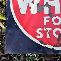 Old Red & White Food Stores Embossed Tin Grocery Store Sign Vintage Advertising
