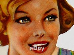 Old Vintage 1955 Motor Oel Veedol Gas & Oil PIN UP! Metal Tin sign POP ART