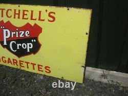 Old Vintage Antique Enamel Sign Shop Advert Mitchell's Cigarette Tobacco Tin