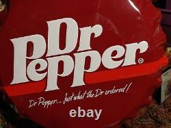 Old Vintage Dr. Pepper Soda Cola Bottle Cap Advertising Tin Metal Sign Large 27
