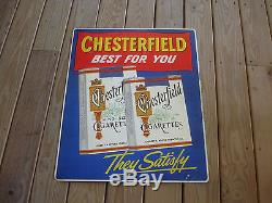 Old Vtg Original Chesterfield Best For You Cigarettes Tin Litho Metal Sign