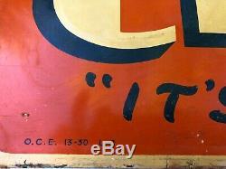 Orange Crush Tin Metal Embossed Soda Pop Sign. Original Rare. Vintage 1930s 40s