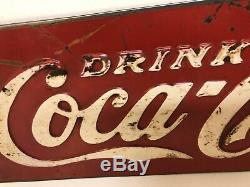 Original 1930's Antique Vintage Coca Cola Soda Coke Tin Embossed Sign