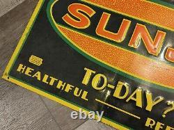 Original 1930s Sunjo Embossed Tin Soda Sign Vtg Old Advertising