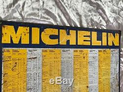 Original Old Vintage Michelin Metal Rusted Sign Car Garage Tyre Pressure Chart