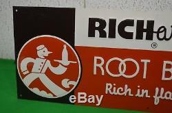 Original Richardson Root Beer Embossed Tin VINTAGE Advertising Sign 23.5 X 8.5