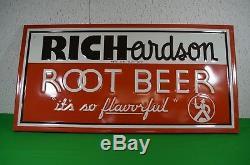 Original Richardson Root Beer Embossed Tin VINTAGE Advertising Sign 36X16