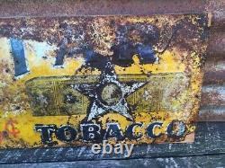 Original Star Tobacco Sign Vintage Metal 12x23 1/2 Antique Sign Tin Tacker Old