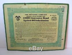 Original Vintage 1930s Pennzoil Bonded Dealer Double-Sided Tin Metal Sign