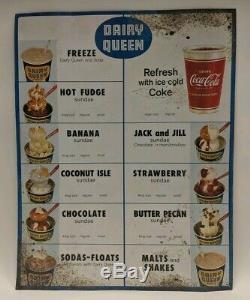 Original Vintage 1960's Dairy Queen Advertising Tin Menu Board Sign with Coca Cola