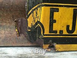 Original Vintage Battle Axe Shoes Sign Antique Early Tin Tacker Great Patina Old